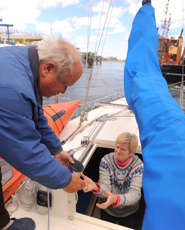 Frederick &quotButch&quot Minson and his wife Janice on board their Lindenberg 28 sailboat the Cats Paw at the Maine Maritime Academy dock in Castine Wednesday.  Butch left Maine in October of 2013 and sailed solo to Florida where Janice joined him to cruise the Florida coast and celebrate their 30th wedding anniversary.