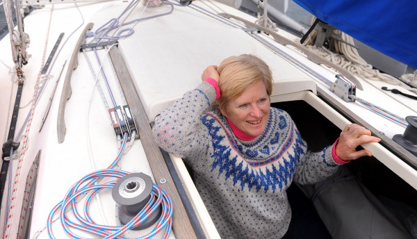 Janice Minson joined her husband on board their Lindenberg 28 sailboat the Cats Paw after Frederick &quotButch&quot Minson docked in Castine Wednesday.   Butch, 68 solo-sailed the boat to Florida where Janice joined him to cruise the Florida coast and celebrate their 30th wedding anniversary.