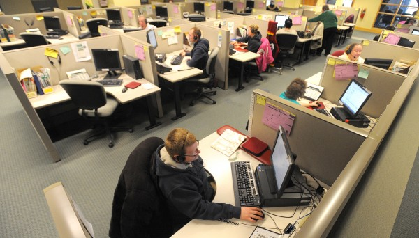 L.L. Bean's Bangor call center, where employees receive orders from across the globe, seen in a February 2012 photo.