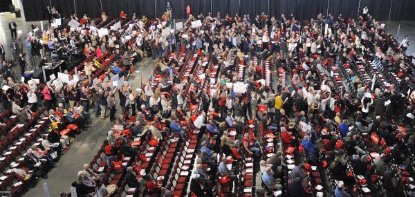 Delegates gather on the second day of the 2014 Maine Republican Convention at the Cross Insurance Center in Bangor on Saturday.
