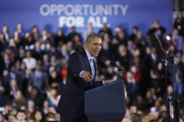 In this March 2014 file photo, President Barack Obama delivers remarks on raising the minimum wage at Central Connecticut State University in New Britain, Conn.