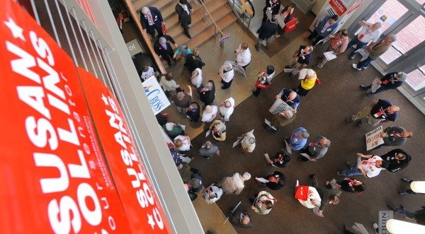People gather for the second day of the 2014 Maine Republican Convention at the Cross Insurance Center in Bangor on Saturday morning.
