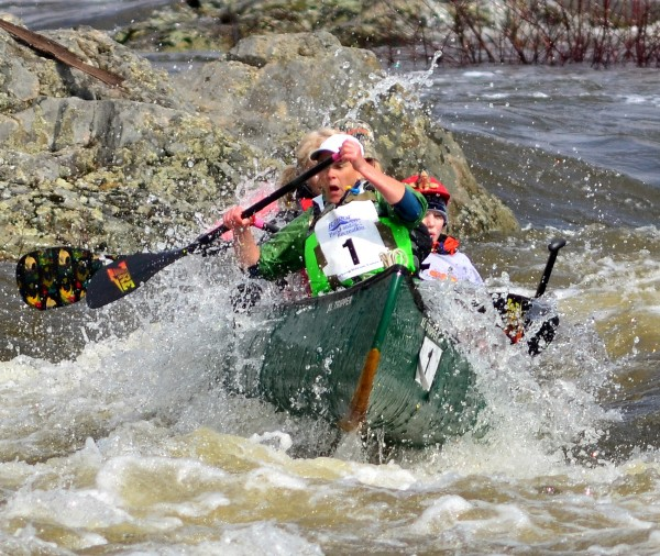 Boat 1 passes safely over Six Mile Falls during the Kenduskeag Stream Canoe Race on Saturday morning. Team members are Tina Scheer of Ellsworth, Nolan Mabee of Bangor, Terry Wescott of Thorndike, Leslie Winchester of Bangor, and Tammy Kelley of Lamoine.