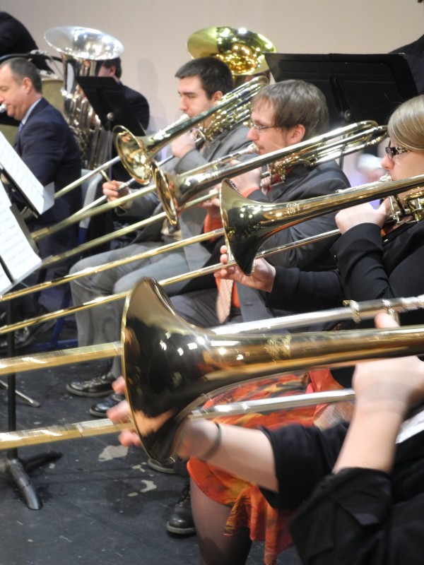 The trombone section plays Friday during the University of Maine Symphonic Band concert at the Vinalhaven School.