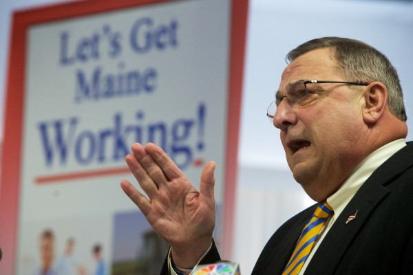 Gov. Paul LePage speaks at a press conference in Brunswick on March 10.