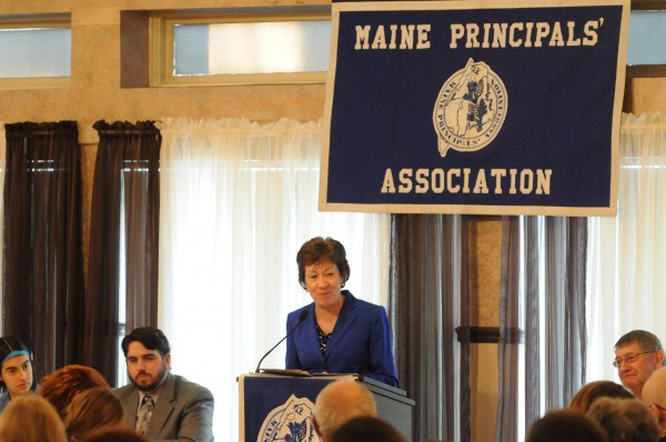 Sen. Susan Collins speaks to a packed room of high school seniors and principals during the MPA Honors Luncheon and Awards at the Spectacular Event Center in Bangor on Saturday.