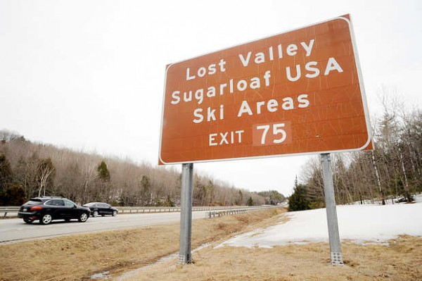 A sign along the Maine Turnpike tells motorists that Exit 75 leads to Lost Valley and Sugarloaf ski areas.