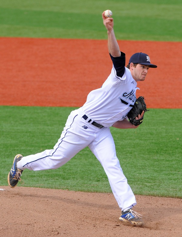 The University of Maine's Jeff Gelinas pitches against the University of Hartford at Mahaney Diamond in Orono on Monday afternoon.