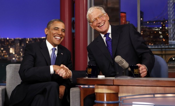 Seated with talk show host David Letterman, U.S. President Barack Obama makes an appearance on &quotThe Late Show&quot in New York City in this September 2012 file photo.