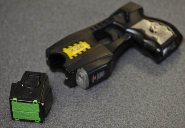 One of Bangor Police Departments Taser guns. The Tasers, which introduce a 50,000 volt shock,  are capable of incapacitating a subject for five seconds.
