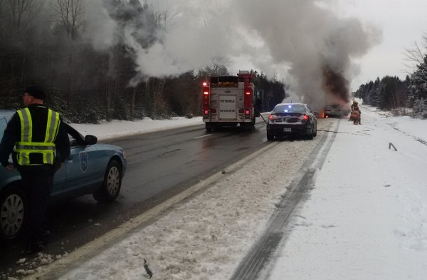 A Portland man's car was destroyed in a fire Wednesday morning on Interstate 95 in Pittsfield, according to police.