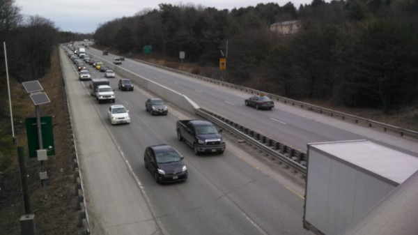 Traffic backs up in the southbound lanes of Interstate 95 in Bangor Monday afternoon.