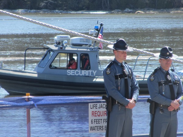 Security was on land and sea during the christening ceremony Saturday at Bath Iron Works.