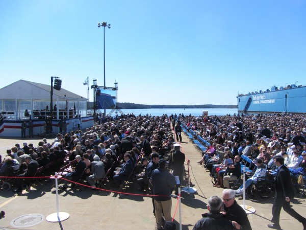 An estimated nearly 6,000 people turned out Saturday for the christening.