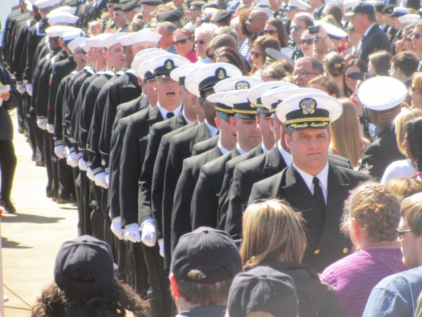 The crew of the Zumwalt DDG 1000 were in attendance Saturday for the christening of the ship they will be serving on.