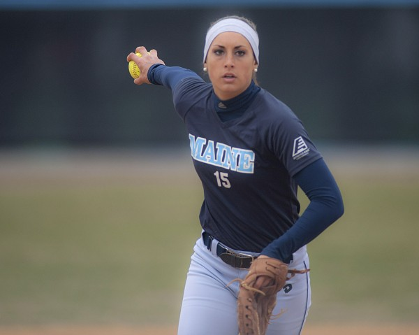 University of Maine pitcher Alexis Bogdonovich (15) delivers a pitch in the first game of a doubleheader against Binghamton on Saturday in Orono.
