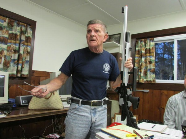Junior shooting coach Don Leonard, who built guns for Marine and Olympic shooting teams, speaks on April 3 at the Spurwink Rod and Gun Club in Cape Elizabeth.