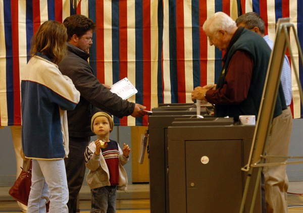 People cast ballots in Brewer on Tuesday Nov. 4, 2008.