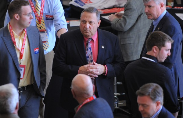 Governor Paul LePage at the 2014 Maine Republican Convention at the Cross Insurance Center in Bangor on Friday.
