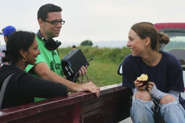 Gita Pullapilly and Aron Gaudet, from left, direct Sarah Sutherland in &quotBeneath the Harvest Sky&quot filmed in The County in August and September of 2012.