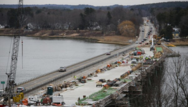The new Martin's Point Bridge between Portland and Falmouth, which has been under construction for more than a year, was originally scheduled to open in mid-May, but cold temperatures in March stymied progress. The bridge, seen from the Portland side, is now expected to open sometime this summer.