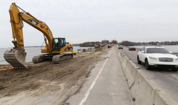 The roadway leading to the Martin's Point Bridge is under construction in Falmouth. The bridge was originally scheduled to open in mid-May, but cold temperatures in March stymied progress. It is now expected to open sometime this summer.