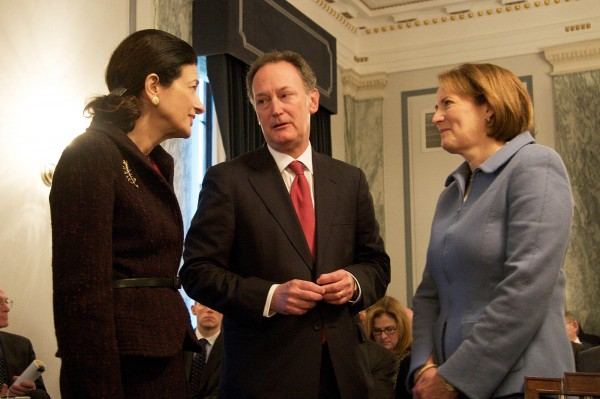 Barry Mills, center, stands with former Sen. Olympia Snowe and his wife, Karen Gordon Mills, in this April 1, 2009 photo. Mills has announced he will step down from his post as president of Bowdoin College.