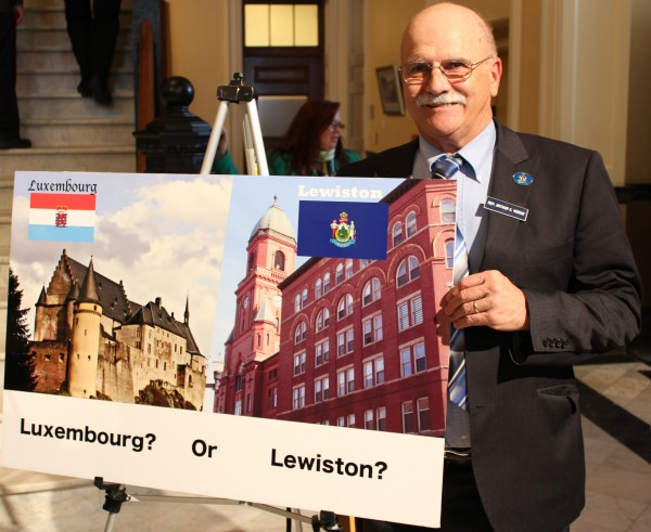 Rep. Archie Verow, D-Brewer, at an April 9 press event at the State House regarding offshore tax havens.