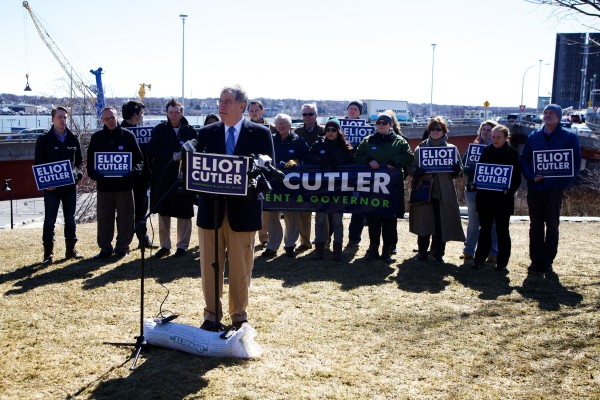 Gubernatorial candidate Eliot Cutler announced in a Portland press conference on Tuesday that he'll make smoothing out potholes and eliminating cellphone dead zones two of his top priorities as governor.