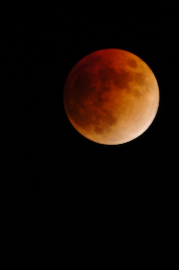 The moon turns red-orange during a lunar eclipse in 2008.