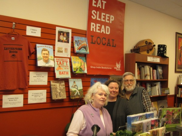 Karen Bakshoian (from left), Katherine Osborne and John Paul Bakshoian are owners of Letterpress Books in Portland''s Northgate Plaza, off outer Washington Avenue. The store opened in October 2013.