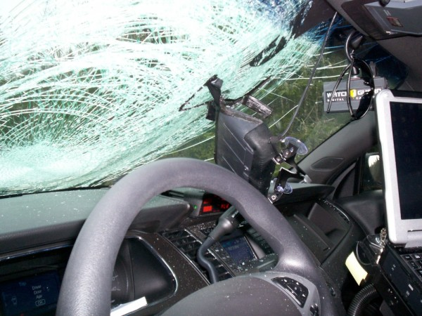 The aftermath of Maine State Trooper Tucker Bonnevie's cruiser after a wild turkey flew into the windshield on Interstate 95 on Thursday.