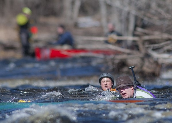 here were some spills like this one of a two-man canoe that happened just above the Ghent Road bridge in Searsmont during the 35th St. George River Race on Sunday.