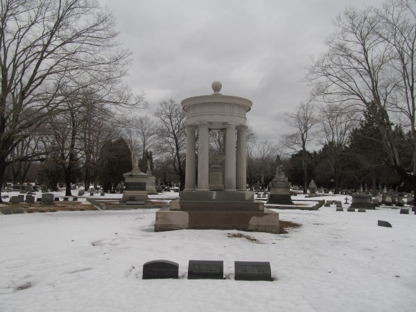 The Baxter Family Monument at Evergreen Cemetery in Portland memorializes former Portland Mayor James Phinny Baxter (1831-1921) and his son Percival Proctor Baxter (1876-1969), former governor of Maine and founder of Baxter State Park.