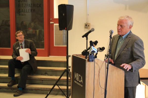 Dan Crewe, right, announces a $3 million grant to the Maine College of Art, a donation from the Bob Crewe Foundation. MECA President Don Tuski, left, said the grant will fund a combined music and art program for which courses and curriculum will be designed in the coming months.