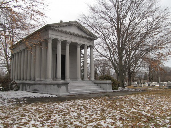 This 1913 Greek temple-style mausoleum at Portland's Evergreen Cemetery commemorates International Paper founder Hugh Chisholm.
