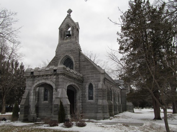 This 1902 English Gothic Revival-style chapel was designed for Mary Ellen Lunt Wilde in memory of her husband, Samuel, according to the group Friends of Evergreen Cemetery.