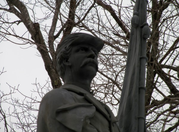 This 1895 Civil War memorial at Portland's Evergreen Cemetery was commissioned by Nathan and Henry Cleaves. Both men studied law, and the Cumberland County law library now bears their names. Henry Cleaves fought in the Civil War and later became governor of Maine.