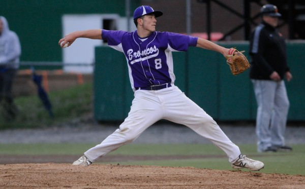 Matt Martin of Hampden, pictured during a 2013 game, was the tough-luck loser Wednesday in a season-opening, 1-0 Class A baseball setback at Lewiston.