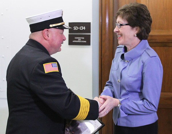 Rangeley, Maine Fire Chief Tim Pellerin greets Sen. Susan Collins in Washington, D.C., on Wednesday before he testified in front of the U.S. Senate Transportation Appropriations Subcommittee. Pellerin spoke about the damage he witnessed in Lac-Megantic, Quebec last summer when he responded to a fire after a train transporting oil exploded, killing 47 people in the small town.