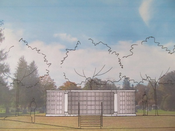 This architect drawing depicts how a proposed columbarium, which will have 300 niches for cremation remains, would look when constructed at Portland's Evergreen Cemetery.