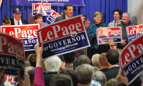 State GOP Chairman Rick Bennett rallies the troops last yearat the Buker Community Center in Augusta, where Gov. Paul LePage announced his re-election campaign.