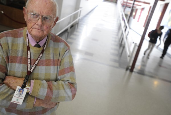 Norris Nickerson stands in one of the main hallways at Bangor High School in this January 2010 file photo. The former Bangor High School principal died Wednesday.