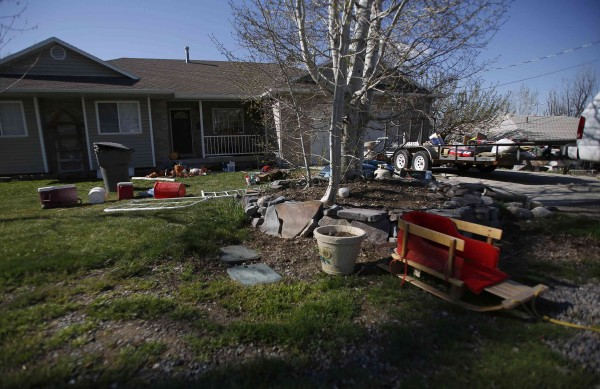 A view of the former home of Megan Huntsman in Pleasant Grove, Utah April 14, 2014. Huntsman has been accused of giving birth to six infants and then killing them.