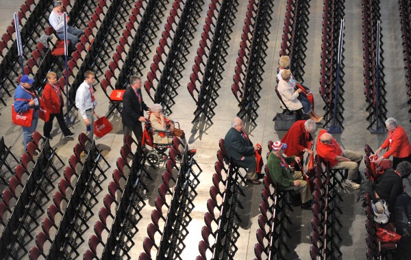 Delegates choose their seats before the start of the 2014 Maine Republican Party Convention at the Cross Insurance Center in Bangor on Friday.