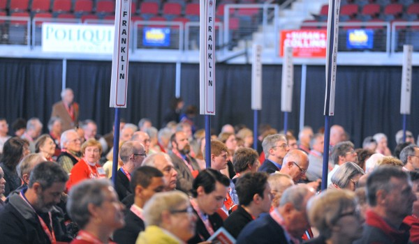 Delegates gather for the 2014 Maine Republican Party Convention at the Cross Insurance Center in Bangor on Friday.