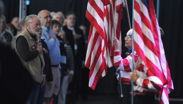 The Freeport Flag Ladies present the colors during the 2014 Maine Republican Party Convention at the Cross Insurance Center in Bangor on Friday.