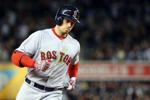 Boston Red Sox right fielder Daniel Nava (29) rounds the bases on his home run during the seventh inning against the New York Yankees at Yankee Stadium on April 10.