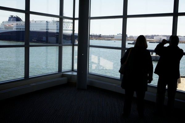 People watch the Nova Star approach the Ocean Gateway Terminal in Portland on Thursday. The ferry will start making daily runs to Nova Scotia starting next month.