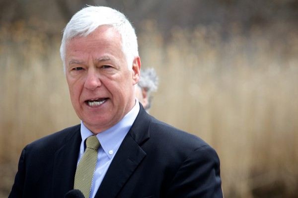 U.S. Rep. Mike Michaud speaks at an Earth Day press conference on Yarmouth waterfront on Tuesday. He blasted Gov. LePage's stance on renewable energy.
